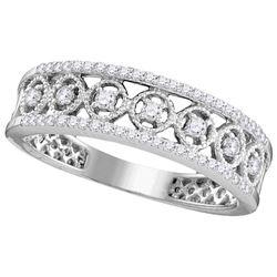 10kt White Gold Womens Round Natural Diamond Filigree F