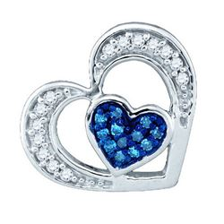14K White-gold 0.35CTW BLUE DIAMOND MICRO PAVE RING