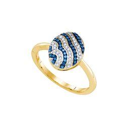 10kt Yellow Gold Womens Round Blue Colored Diamond Stri