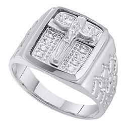 10KT White Gold 0.01CTW DIAMOND MENS CROSS RING