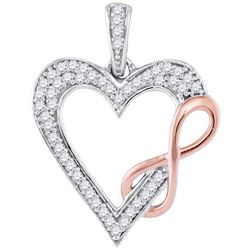 10KT White Gold Two Tone 0.12CTW-Diamond HEART PENDANT