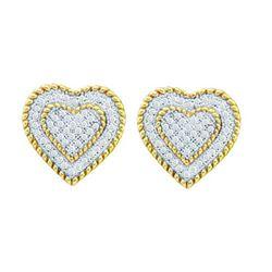 10KT Yellow Gold 0.33CTW DIAMOND HEART EARRINGS