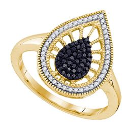 10K Yellow-gold 0.25CT BLACK DIAMOND MICRO PAVE RING