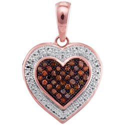 10KT Rose Gold 0.12CTW RED DIAMOND HEART PENDANT
