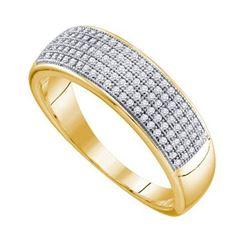 10KT Yellow Gold 0.33CTW DIAMOND MICRO PAVE MENS BAND