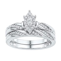 10KT White Gold 0.25CTW DIAMOND BRIDAL SET