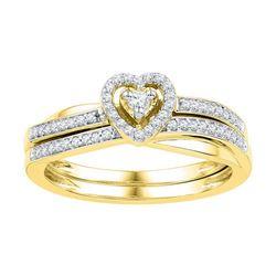 10K Yellow-gold 0.25CTW-Diamond BRIDAL SET