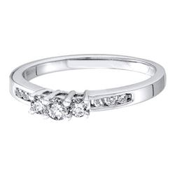 14KT White Gold 0.25CTW DIAMOND LADIES 3 STONE BRIDAL R
