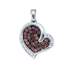 10KT White Gold 0.51CTW COGNAC DIAMOND HEART PENDANT