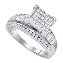 925 Sterling Silver White 0.36CTW DIAMOND INVISIBLE RIN