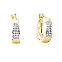 925 Sterling Silver Yellow 0.16CTW DIAMOND MICROPAVE HO