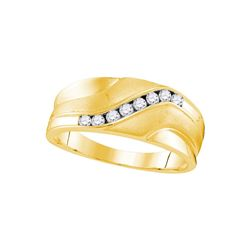 10kt Yellow Gold Mens Round Natural Diamond Band Weddin