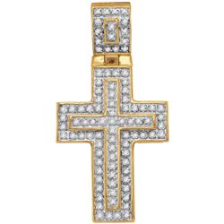 10kt Yellow Gold Mens Round Diamond Layered Christian C