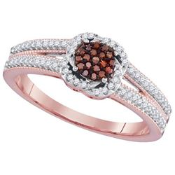 10KT Rose Gold 0.25CTW RED DIAMOND MICRO-PAVE BRIDAL RI