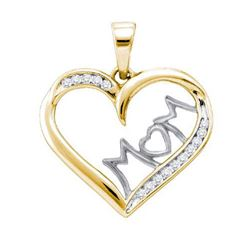 925 Sterling Silver Yellow 0.15CTW DIAMOND MOM PENDANT