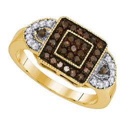 10K Yellow-gold 0.50CTW COGNAC DIAMOND FASHION RING