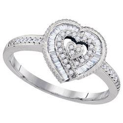 10KT White Gold 0.24CTW DIAMOND HEART RING