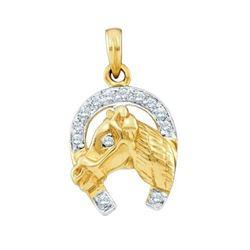 10KT Yellow Gold 0.11CTW DIAMOND LADIES HORSE PENDANT