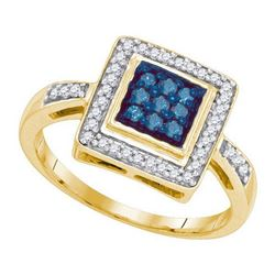 10KT Yellow Gold 0.25CTW BLUE DIAMOND MICRO-PAVE RING
