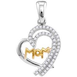 10kt White Gold Womens Round Diamond Two-tone Mom Heart