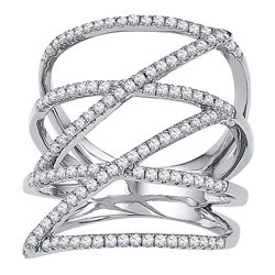 10kt White Gold Womens Round Diamond Crossover Strand F