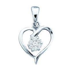 10KT White Gold 0.08CTW DIAMOND LADIES HEART PENDANT