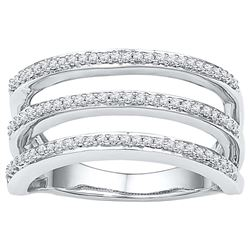 10kt White Gold Womens Round Natural Diamond Striped Fa