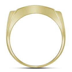 10kt Yellow Gold Mens Round Diamond Rectangle Arched Cl