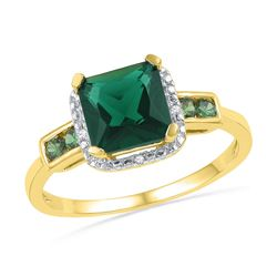 10kt Yellow Gold Womens Princess Lab-Created Emerald So