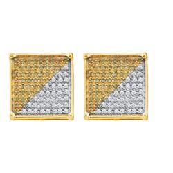 10KT Yellow Gold 0.16CTW DIAMOND MICRO PAVE EARRING