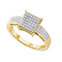 925 Sterling Silver Yellow 0.18CTW DIAMOND MICRO PAVE R