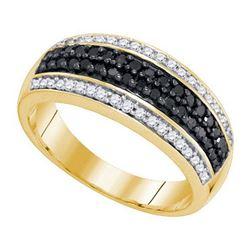 10K Yellow-gold 0.50CTW BLACK DIAMOND MICRO-PAVE RING