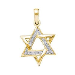 10KT Yellow Gold 0.10CTW DIAMOND LADIES STAR PENDANT