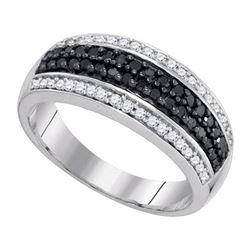 10K White-gold 0.50CTW BLACK DIAMOND MICRO-PAVE RING
