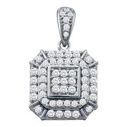 Womens 10K White Gold Cushion Cluster Genuine Diamond C
