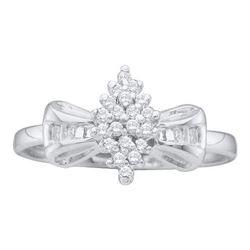 10KT White Gold 0.10CTW DIAMOND CLUSTER RING