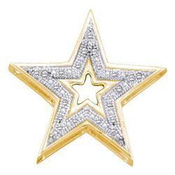 10KT Yellow Gold 0.05CTW ROUND DIAMOND STAR PENDENT