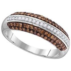 10KT White Gold 0.51CTW COGNAC DIAMOND FASHION RING