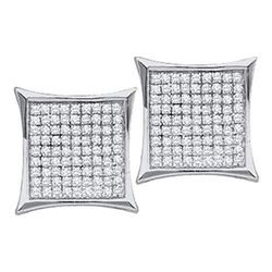 10KT White Gold 0.10CTW DIAMOND MICRO PAVE EARRING