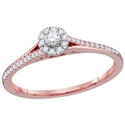 10kt Rose Gold Womens Round Natural Diamond Solitaire B