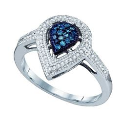 10KT White Gold 0.25CTW BLUE DIAMOND HEART RING