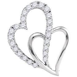 10KT White Gold 0.37CTW DIAMOND HEART PENDANT