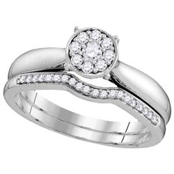 10kt White Gold Womens Round Diamond Bridal Wedding Eng