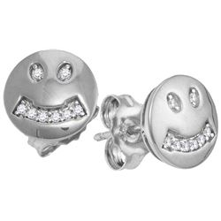 10kt White Gold Womens Round Diamond Smiley Face Screwb