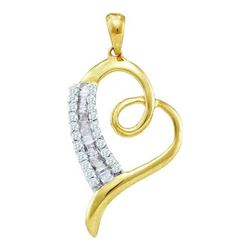 10KT Yellow Gold 0.25CTW DIAMOND LADIES HEART PENDANT