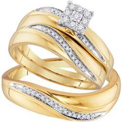 10K Yellow-gold 0.22CTW DIAMOND FASHION TRIO SET