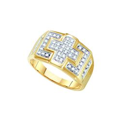 10kt Yellow Gold Mens Round Diamond Square Cross Cluste