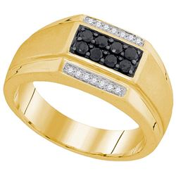 10kt Yellow Gold Mens Round Black Colored Diamond Recta