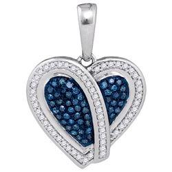 10KT White Gold 0.25CTW BLUE DIAMOND HEART PENDANT