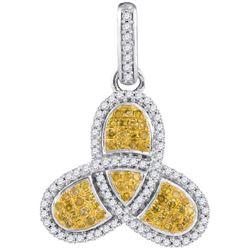 10KT White Gold 0.40CTW-Diamond MICRO-PAVE PENDANT